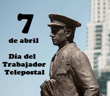 """La imagen puede contener: una o varias personas, personas de pie y exterior, texto que dice """"7 de abril Dia del Trabajador Telepostal El Cartero"""""""